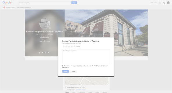 Family Chiropractic Center of Bayonne Google Plus review shot